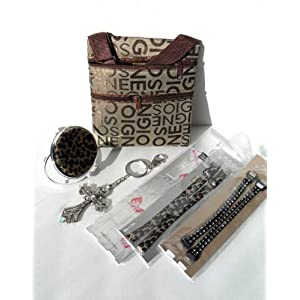 Designer Bra Straps Gift Set with Bag, Rhinestone Cross Keychain, & Animal Print Compact