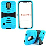 mylife Electric Cyan Blue and Ultra Charcoal Black - Shockproof Survivor Series (Built in Kickstand + Easy Grip Ridges) 2 Piece + 2 Layer Case for NEW Galaxy S5 (5g) Smartphone By Samsung (Internal Flex Silicone Bumper Gel + Internal 2 Piece Rubberized Fitted Armor Protector + Shock Absorbing Material)