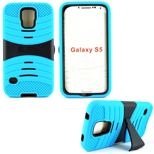 Mylife Electric Cyan Blue And Ultra Charcoal Black - Shockproof Survivor Series (Built In Kickstand + Easy Grip Ridges) 2 Piece + 2 Layer Case For New Galaxy S5 (5G) Smartphone By Samsung (Internal Flex Silicone Bumper Gel + Internal 2 Piece Rubberized Fi