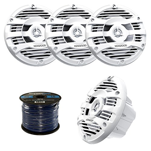 "4 X New Kenwood KFC-1653MR 6.5"" Inch 2-way Marine Boat Yacht Audio Speakers 2 Pair's, With 50 FT. Of Cadance Marine Speaker Wire Included KFC-1653MRW KFC-1653MRB - Complete Marine Speakers Kit (White)"