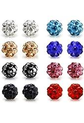 Bling Bling Rhinestones Crystal Fireball Disco Ball Ball Stud Earrings, Stainless Steel, Hypoallergenic