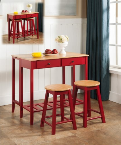 Red Wooden Kitchen Breakfast Bar Table and Chairs Set