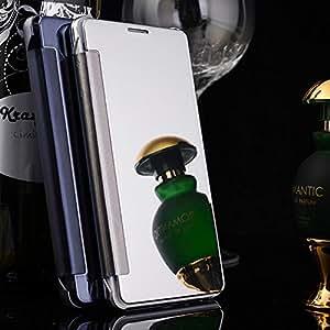 Delkart Trancy Mirror View Flip Cover for Samsung Galaxy On 8 (Silver)
