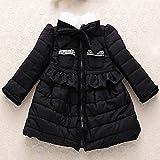 MINEKA 女の子 冬 コート アウター ベンチコート ピンク /ブラック90~130cm ファー付き外す不可 (3T, G.DY.0101011/ブラック)