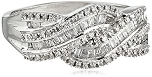 10k White Gold Diamond Twist Ring (1/2 cttw), Size 5