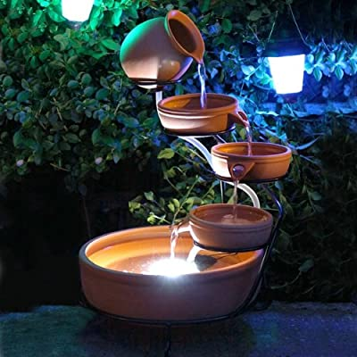 Aqua Moda Water Feature Solar Powered Terracotta Cascade with LED Light and Battery OGD150