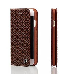 PHEVOS ® Iphone 6plus/Iphone 6s plus wallet Cases [Luxury Genuine Leather] Folio Flip Corrected Grain Leather Case and Card Slot (Coins brown)