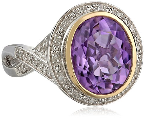 S&G Sterling Silver and 14k Yellow Gold Oval Amethyst Ring and Diamond Accent with Twist Design (1/10 cttw, I-J Color, I3 Clarity), Size 7