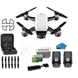 DJI Spark Intelligent Portable Mini Drone Quadcopter, with MUST HAVE BUNDLE, 2 Total batteries , 32 GB SD Card, Propeller Guards, 3.0 Reader and Koozam Cleaning Cloth (Alpine White)