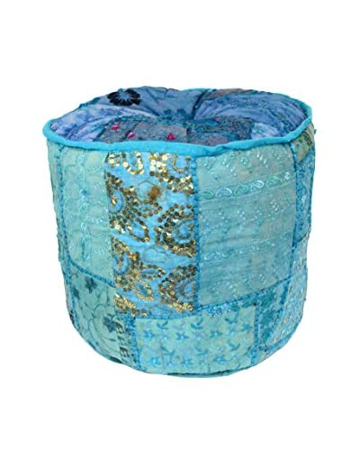 Uptown Down Circular Patchwork Pouf, Blue