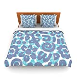 "Kess InHouse Chickaprint ""Tribus"" Blue Navy King Fleece Duvet Cover, 104 by 88-Inch"