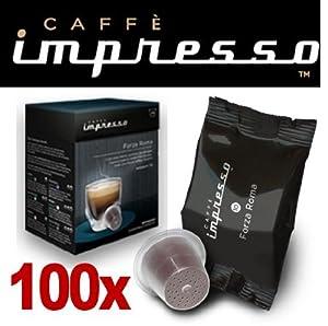 Order 100 x Caffè Impresso Nespresso ® Compatible Coffee Capsules / Pods Forza Roma by Espresso Capsule Company