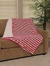 Regal Comfort Chevron Sherpa Blanket Red 50quot x 70quot Throw