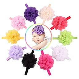 Quest Sweet 10 Pieces Baby\'s Headbands Girl\'s Headband Head Wear Flower (10pack)