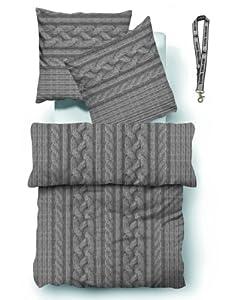 "Original ""Tom Tailor"" Feinbiber - Bettwäsche + Tom Tailor Schlüsselband / Material: Feinbiber aus 100% Baumwolle / Farbe: 805 - grau / Dessin: 9408 / Größe: (155 x 220 cm)"