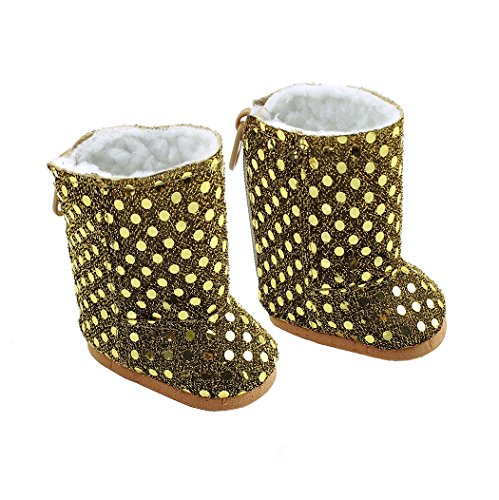 Ebuddy Handmade Fashion Sequins Doll Shoes Boots Fits 18 Inch Girl Dolls