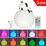 Silicone LED Night Light Panda Eco-friendly 10-colors Switching Night lamp USB Rechargeable with Remote for Girlfriend Adult Kids Babies Children Bedroom and Nursery (Color: White, Tamaño: Panda with Remote)
