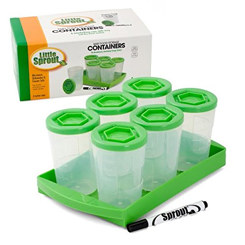 Baby Food Containers By Little Sprout: Reusable Stackable Storage Cups with Tray and Dry-erase Marker (Set of 6 - 4oz) - BPA Free