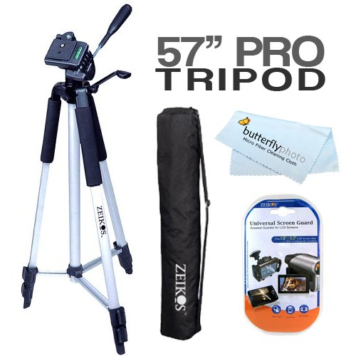 "57"" Camera/ Camcorder Tripod w/ Carrying Case For Nikon Coolpix P7000 S8200 S6200 S8100 S8000 S6000 S1100pj S1000pj S5100 S4000 S3000 S80 S570 P100 L110 L120 L22 L21 L23 L24 8400 8800 S-550 S-560 S100 AW100 S1200pj P7100 Digital Camera + Screen Protectors"