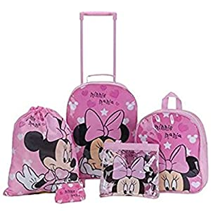 Disney Minnie Mouse Hearts Girls Pink Childrens Kids 5 Piece Travel Luggage Set School Backpack Purse Swim Bag Handbag Trolley Bag