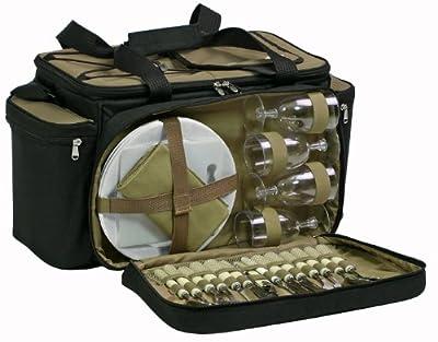 Ezetil 10 723320 Kuehltasche KC Professional PicnicBag mit Geschirr, schwarz/beige, 54 x 32 x 29 cm