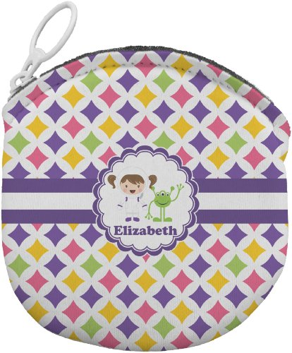Girls Astronaut Personalized Round Coin Purse front-661864