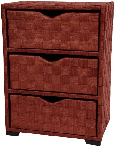 Oriental Furniture JH09-101-3-MHGNY 25-Inch 3 Drawer Woven Fiber Rattan Style End Table Nightstand Cabinet Chest, Honey
