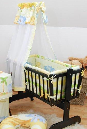 7 PIECE BABY CRIB BEDDING SET (Fits Rocking / Swinging Crib / Cradle 90x40cm) - Safari