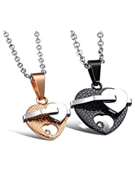 Via Mazzini 316L Stainless Steel Love Birds Crystal Couple Necklaces (NK0314)