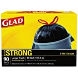 "GLAD 70313 Drawstring Outdoor 30-Gallon Trash Bags, 1.05 Mil, 30"" x 33"", Black (Pack of 90)"