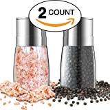 Salt and Pepper Grinder Set - Premium Stainless Steel Manual Mills - Adjustable Coarseness, Brushed & Elegant - Best Glass Shakers, Containers and Dispenser - Refillable Holder & Organizer Combo Gift