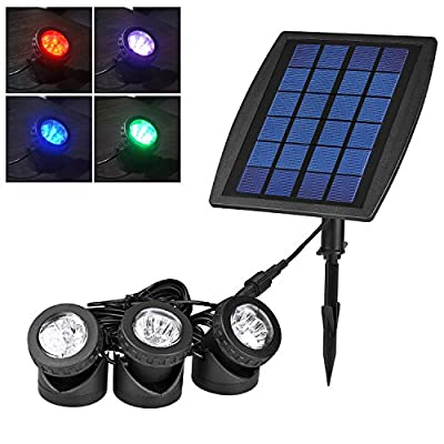 Liqoo LED Solar Powered Lamp Light with 3 RGB Spotlight Panel Underwater Landscape Ambiance Pond Garden Lighting Waterproof IP68 for Outdoor Backyards Hall Fountain Decoration