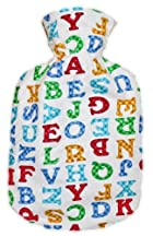 Warm Tradition ALPHABET FLANNEL CHILDREN'S Covered Hot Water Bottle - Bottle made in Germany, Cover made in USA