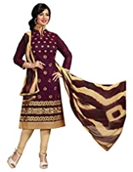 Surat Tex Purple Color Casual Wear Embroidered Chanderi Semi-Stitched Salwar Suit - B017RAXSW2