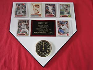 Boston Red Sox 2013 World Series Champions 6 Card Collector HOME PLATE Clock Plaque... by J & C Baseball Clubhouse