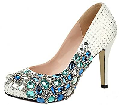 Honeystore Women's Diamonds and Rhinestone Satin Pumps Blue 3.5 B(M) US