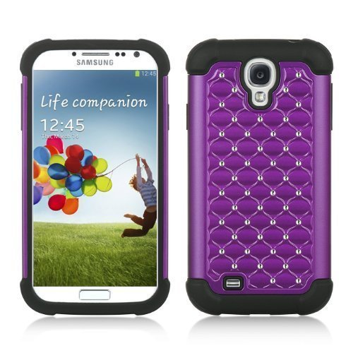 Purple Deluxe Xshield Hybrid Gel Rhinestone Bling Case Cover For Samsung Galaxy S4 I9500+ Pen Stylus