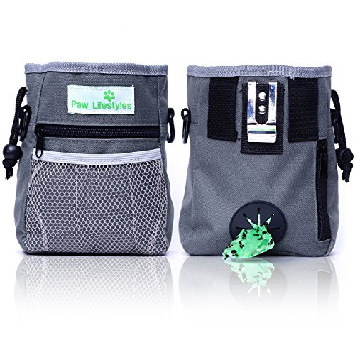 Paw Lifestyles - Dog Treat Training Pouch - Carries Pet Toys, Kibble, Treats - Built-In Poop Bag Dispenser - Grey (Whistle Labs compare prices)