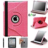E-LV 360 Degrees Rotating Stand Leather Smart Case for Apple iPad Mini/iPad Nano Luxury Crocodile Pattern - Free Screen Protector and Cleaning Cloth (Retail Packaging) (Hot Pink, iPad mini)