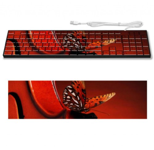 Butterfly Landing On A Violin Artistic Musical Keyboard Customized Made To Order Support Ready 16 7/8 Inch (430Mm) X 4 7/8 Inch (125Mm) X 15/16 Inch (25Mm) High Quality Liil Key Board Boards Desktop Laptop Key_Board Comfortable Computer Accessories Cute G