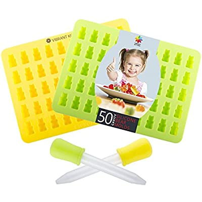 Gummy Bear Molds by Vibrant Kitchen BPA Free Silicone Mold For Gummie Chocolate Ice Cubes and Candy (2 Pack)