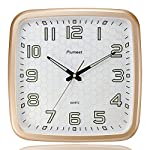 Plumeet 14-Inch Wall Clock with Classics and Specified Design of Silent Non-Ticking Night Lights for Indoor Kitchen Large Number Battery Operated (Gold)