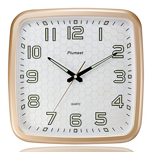 Plumeet 14-Inch Wall Clock with Classics and Specified Design of Silent Non-Ticking Night Lights for Indoor Kitchen Large Number Battery Operated (Gold) 0