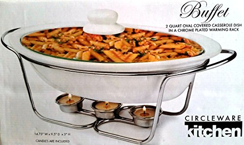 Buffet 2-Quart, Oval, Covered Casserole Dish in a Chrome Plated Warming Rack