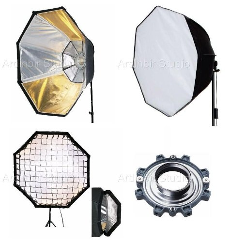 "Ardinbir Studio 48"" 120cm Octagonal Gold Silver Reversible Softbox Diffuser with Eggcrate Grid for Photogenic Flash Monolights"
