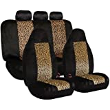 FH-FB126115 2 Tone Classic Leopard Car Seat Covers, Airbag compatible and Split Bench
