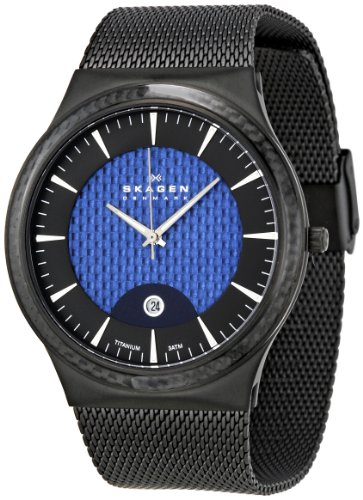Skagen Designs Men's Quartz Watch with Black Dial Analogue Display and Black Titanium Strap 234XXLTBN