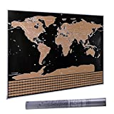 Scratch Off World Map Poster - with US States and Country Flags, Track Your Adventures. Includes Scratcher and Memory Stickers, Perfect Gift for Travelers, By WRdeals