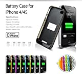 IFans® Apple MFI [Made for iPhone] iPhone4 4S Ultra Compact Power Pack Battery Backup Charger Case Built-in 1800mAh Rechargeable Battery Core [Apple Original 24Pin Dock Connector, 100% Compatible with iPhone 4S 4 on iOS 7.0+ , Low Profile & Light Design,
