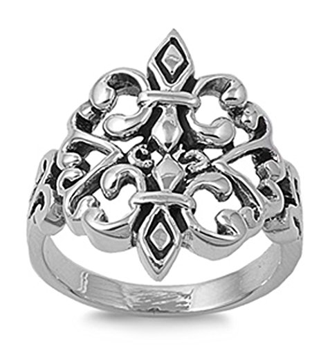 Sterling Silver Woman'S Fleur-De-Lis Heart Ring Wholesale Comfort Fit Band 28Mm Size 10 Valentines Day Gift